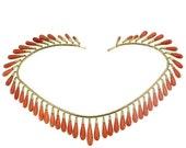 Valentines Sales Vintage coral drops gold necklace