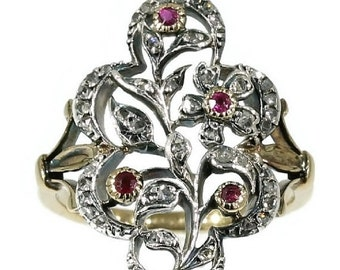Summer Sale Diamond Flower Ring Red Paste Silver Set Yellow Gold Band - Antique ring c.1860