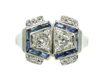 ON SALE Art Deco Sapphire Ring Diamond 0.4ct Platinum Shank Abstract Design 1920s Statement Ring