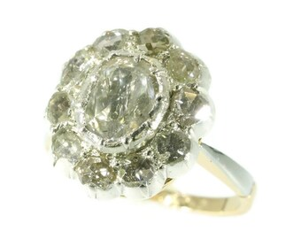 On Sale - Vintage diamond cluster ring big rose cut diamond 18k gold