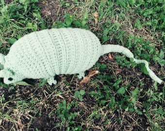 Vintage Hand Crocheted Stuffed Armadillo
