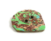 Green and brown sewing button focal
