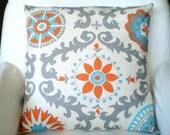 Orange Aqua Gray Decorative Throw Pillow Covers, Cushions, Orange Aqua Grey Cream, Rosa Suzani, Couch Bed Pillows, One or More ALL SIZES