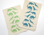 Dinos! Printed Flour Sack Tea Towel | Green | Teal | Screen Printed | Absorbent Dish Towel | Cloth Towel | Natural Cotton