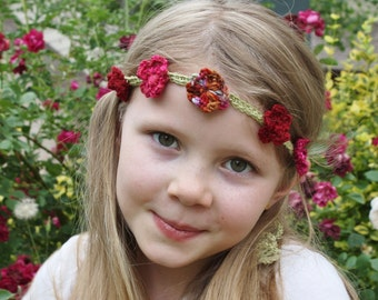 Hand Crocheted Midsummer Fairy Pixie Headband Embellished with Flowers
