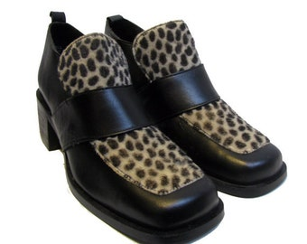 Vintage John Fluevog Shoes Womens Black Leather with Cheetah Print Cowhide Loafers Made In England Fits Wms US Size 8