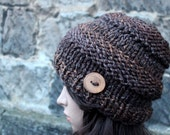 HAT knitted chunky - Big softie hat in brown shade, winter hat brown multicolour vegan, womens gift, UK
