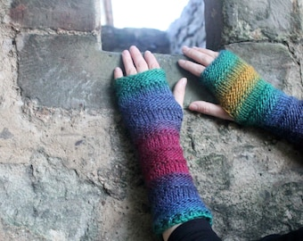 ARM WARMERS, long fingerless gloves womens knitted - Cool mittens - extra long, gift for her