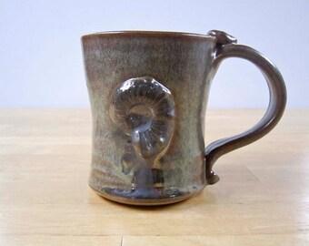 Ceramic Coffee Mug - Stoneware Mug - Rustic Brown - Fossil Shell Ammonite - Pottery Clay Mug - Cup -  12 ounces - Rustic Decor