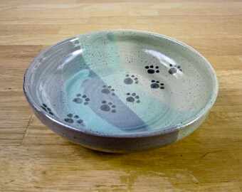Ceramic Pet Feeding Dish - Feeding Bowl - Stoneware Bowl - Blue Green -  Pottery Bowl - Clay Handmade - Cat Dog Food Dish