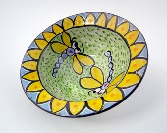 Blue Dragonfly - Small Ceramic Bowl -  Small Pottery Bowl - Majolica Bowl - Cereal Bowl - Clay Dish - Handmade Bowl- Yellow Green