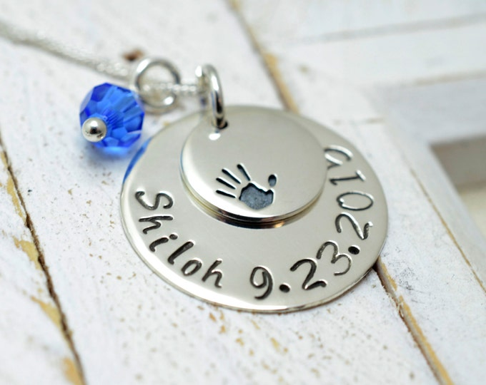 Personalized Baby Handprint Necklace - Mommy Grandma Nana Necklace - New Baby New Mom Jewelry - Mother's Day Gift - Stamped Metal Jewelry