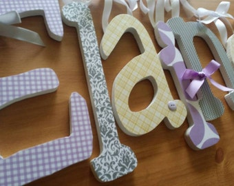 Lavender Grey and Yellow Nursery Decor -Baby Girl Wooden Letters for Nursery-single letter- avail in any size or font in this shop