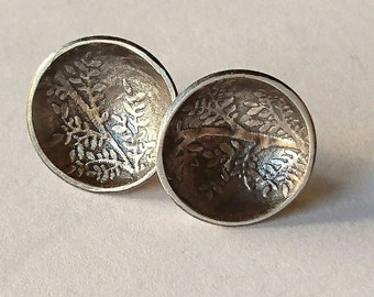 Sterling silver handmade disc embossed earrings, hallmarked in Edinburgh