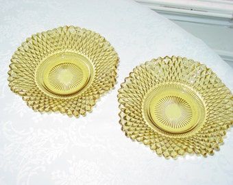 Vintage Amber Glass Ruffles Diamond Point Pattern Pair Set of Two 2 Candy Nut Jewelry Dish
