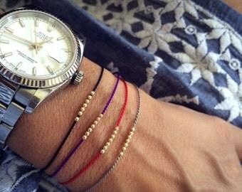 Valentine SALE 14k solid gold Seven Wish bracelet, friendship bracelet, silk bracelet, 14k solid gold
