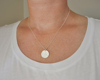 Large Sterling Disc Necklace - sterling silver hand hammered round circle charm 5/8 inch pendant modern classic simple chic everyday jewelry