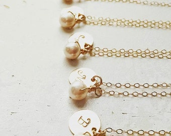 Initial & Pearl Necklace - small gold filled disc circle round personalized charm hand stamped pendant bridesmaid gift monogram jewelry
