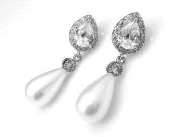 wedding jewelry bridal earrings bridesmaid gift prom party teardrop soft off white shell pearl earrings cubic zirconia deco rhodium post