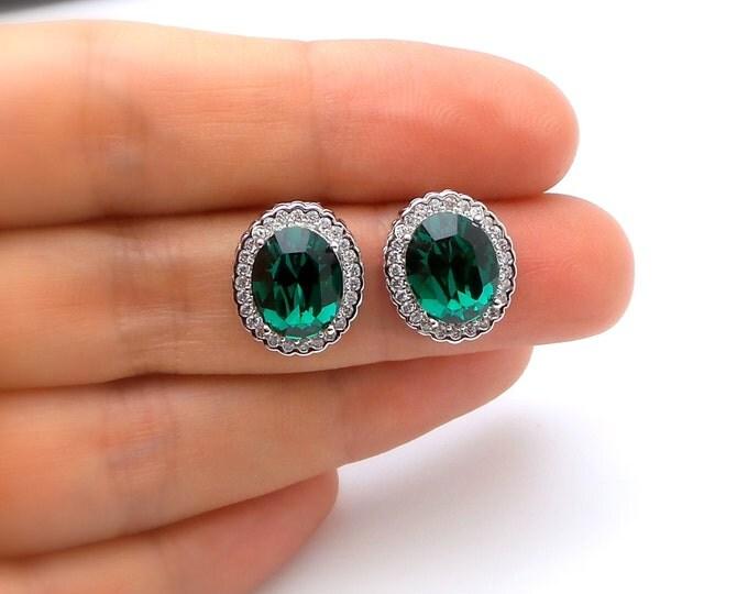 bridal wedding jewlery prom party bridesmaid earrings oval cut cubic zirconia emerald green swarovski rhinestone post white gold stud