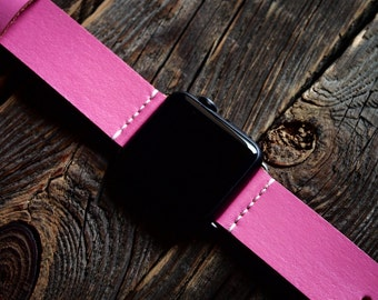 Pink Apple Watch Band Strap 38mm -  Handmade leather strap/band for Apple Watch 38mm