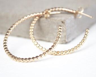 Gold hoop earrings, beaded earrings, gift for her