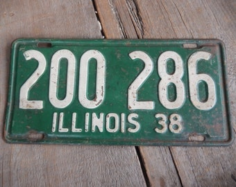 License Plate 1938 Illinois Rustic Old Metal Sign Green Wall Hanging, Cafe, Bar, Saloon, Coffee Shop Rusty Decor AMarigoldLife