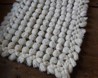 Vintage White Doily Handmade Boho Pom Pom Cotton Chic Home Decor