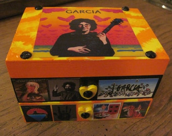 The Grateful Dead's Jerry Garcia Hand Crafted Decoupaged Wood Jewelry Keepsake Box