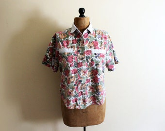 SALE vintage shirt 1990s floral print denim chambray collar button down blouse clothing size medium m large l