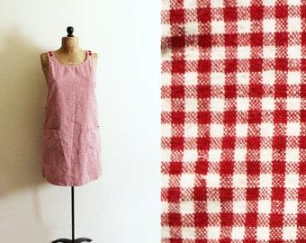 vintage jumper red gingham plaid dress linen 1990s summer clothing size m l medium large