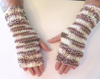 Hand Knit Fingerless Mittens/Texting Gloves - Neopolitan:tan/pink/cream Wrist Warmers- One Size