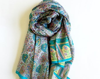 Paisley Print Fresh Blue | Pure Silk Sari Scarf | Clear blue colorful paisley print & Border | Soft and Elegant | Little Luxuries | Gift