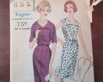 60s Vintage Vogue uncut Pattern 9951 - dress, size 14