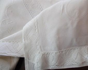 40s large cotton linen PILLOW SHAM - white, antique, square