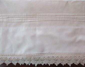 antique cotton PILLOWCASE -  cream, handmade lace, crocheted