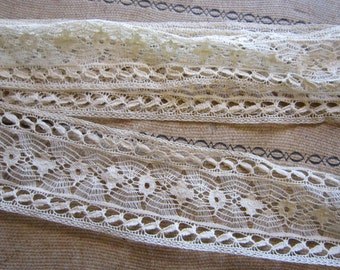 vintage hand done lace trim - vintage bobbin lace - 1.25 yards x 1.625 inches wide