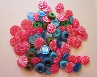 65 vintage plastic buttons - PINK, blue, and green