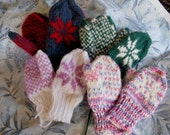 Custom order for childrens mitten, one pair,choose colors,double yarn,very soft and warm