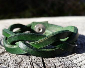 Handmade Emerald Green Leather Cuff