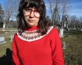 60s PENDLETON sweater - red bow pattern yoked sweater - wool top