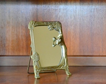 vintage art nouveau brass through the looking glass mirror / mothers day / mom