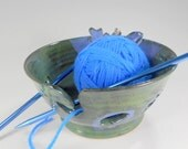 Ceramic knitting  bowl, pottery crochet tatting holder, stoneware yarn bowl, pottery yarn bowl with leaves blue green glaze