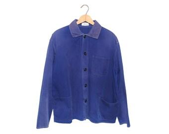 """Vintage European Cobalt Blue """"Friendship"""" Cotton Button Up Chore Coat - Medium"""