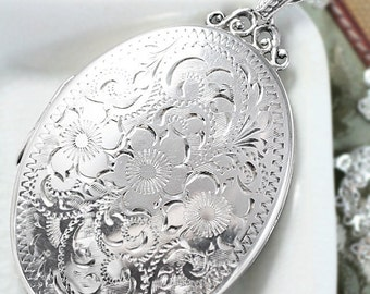 Extra Large Sterling Silver Locket Necklace, Deep Oval Hinged Photo Locket London Hallmarks 1976- Swirling Vines