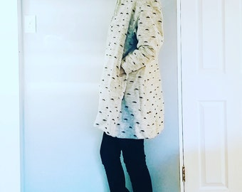 Mod 1960s Tweed Wool Speckled black and white Jacket Coat