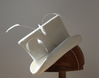 Mini Top Hat Ivory Percher White Hat Women  Millinery  Costume Steampunk Wedding