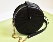 Black Leather bag, Monstera Leaf bag, Jungle, circle bag, Women's Bag, Leather Bag, Leather Purse, Leather Shoulder Bag, Leaf