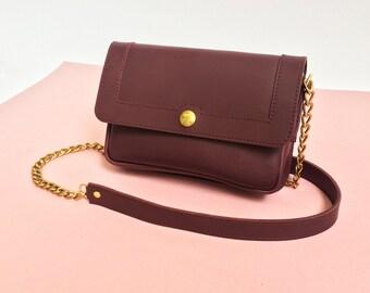 Leather bag burgundy, Basic leather purse, leather bag, bordeaux, purse, cross body bag, shoulder bag