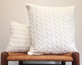 Cables Knit Off White Sweater Pillows Up Cycled Acrylic Sweater